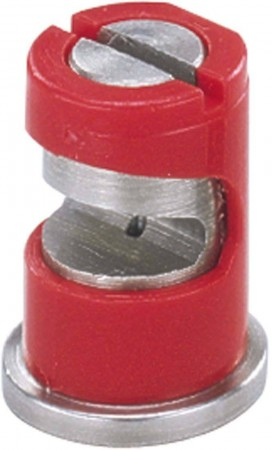FloodJet Red Acetal-Stainless Steel Wide Angle Flat Spray Tip Nozzle