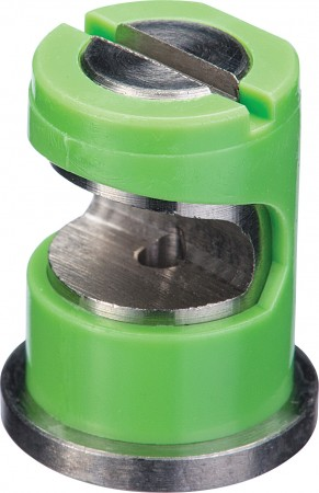 FloodJet Light Green Acetal-Stainless Steel Wide Angle Flat Spray Tip Nozzle