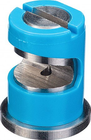 FloodJet Light Blue Acetal-Stainless Steel Wide Angle Flat Spray Tip Nozzle