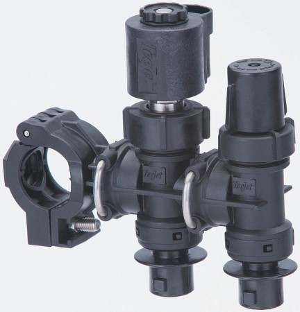 """1/2"""" Hose Barb 2 Outlet Stackable Nozzle Body Assembly for Dry Applications"""