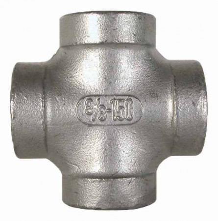 """Stainless Steel Pipe Cross Fitting - 1 1/2"""" FPT"""