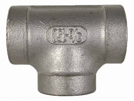 """Stainless Steel Pipe Tee Fitting - 3/8"""" FPT x 3/8"""" FPT"""