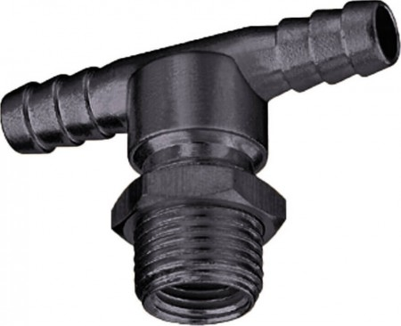 """3/8"""" Hose Barb Nozzle Body Tee w/ 11/16"""" MPT"""