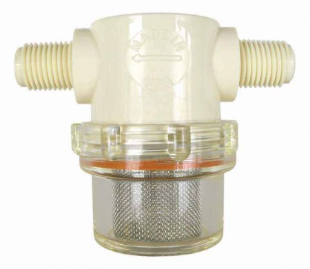 """1/4"""" MPT Clear Poly Nylon T-Line Strainer with Viton Gasket"""