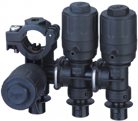 """1/2"""" Hose Barb 3 Outlet Stackable Nozzle Body Assembly for Dry Applications"""