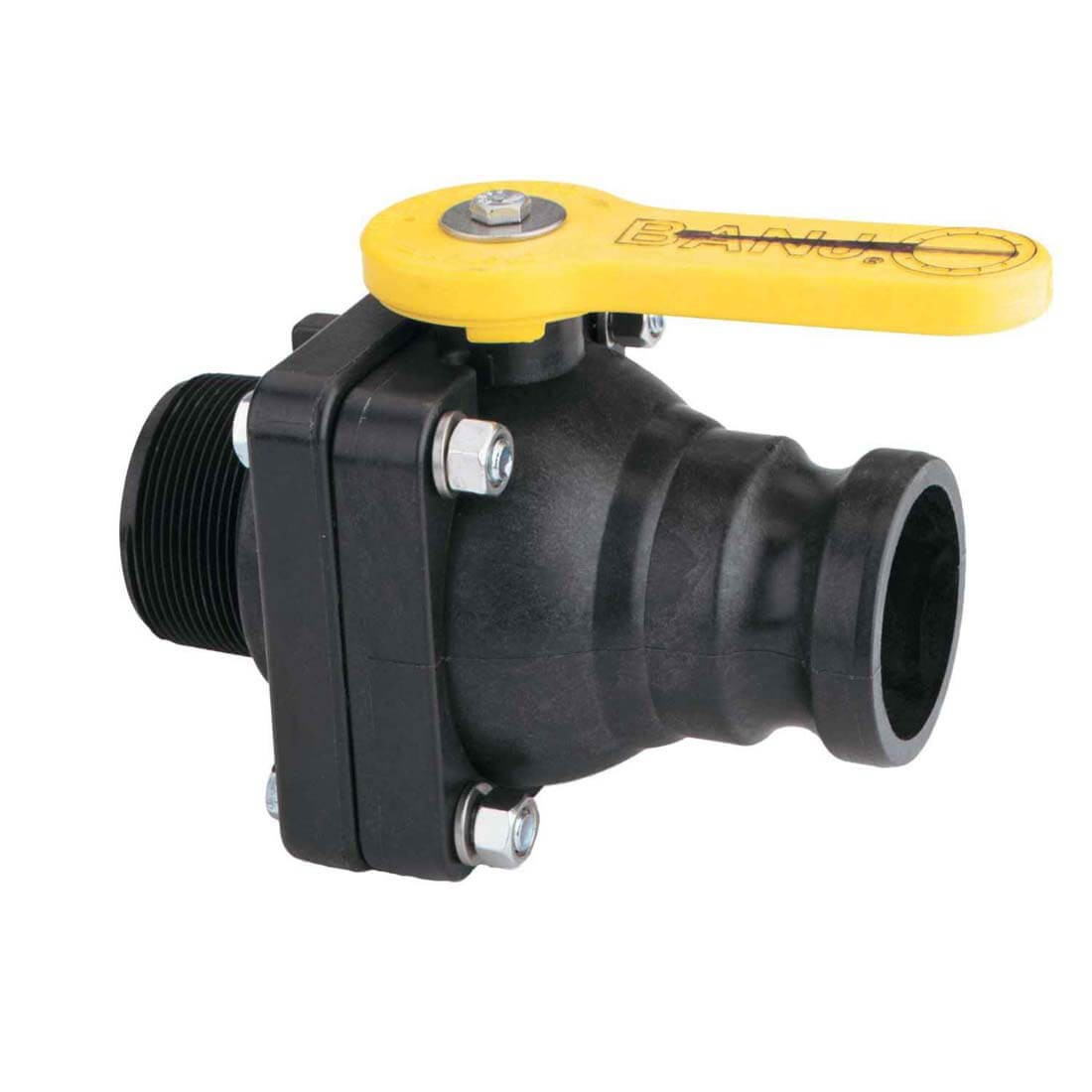 "Banjo Electric 3 Way Directional Ball Valve: 2"" Male Adpater Polypropylene Ball Valve"