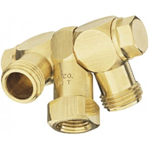 "1/4"" FPT 2 Outlet Swivel Nozzle Body"