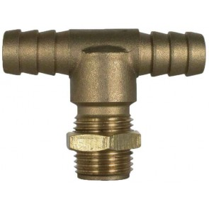 "Brass Hose Barb Tee Fitting - 1/2"" Hose Barb x 11/16"" MPS"