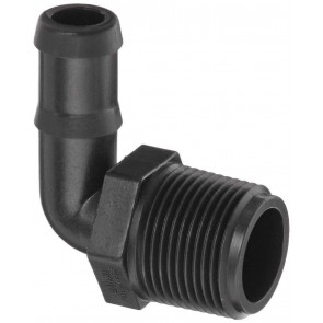 "90° Hose Barb Fitting - 3/4"" MPT x 1"" Hose Barb"