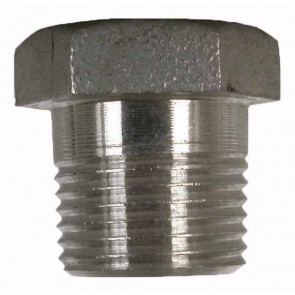 "Stainless Steel Pipe Hex Plug Fitting - 3/8"" MPT"