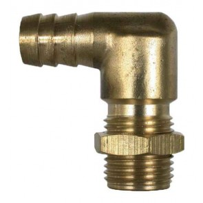 "Brass Hose Barb 90° Elbow Fitting - 3/8"" Hose Barb x 11/16"" MPS"