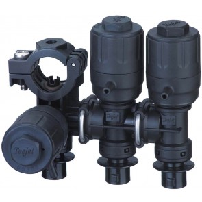 """1"""" Hose Barb 3 Outlet Stackable Nozzle Body Assembly for Wet Applications"""
