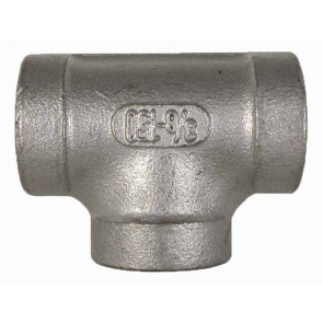 "Stainless Steel Pipe Tee Fitting - 1/2"" FPT x 1/2"" FPT"