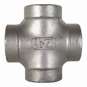 "Stainless Steel Pipe Cross Fitting - 3/8"" FPT"